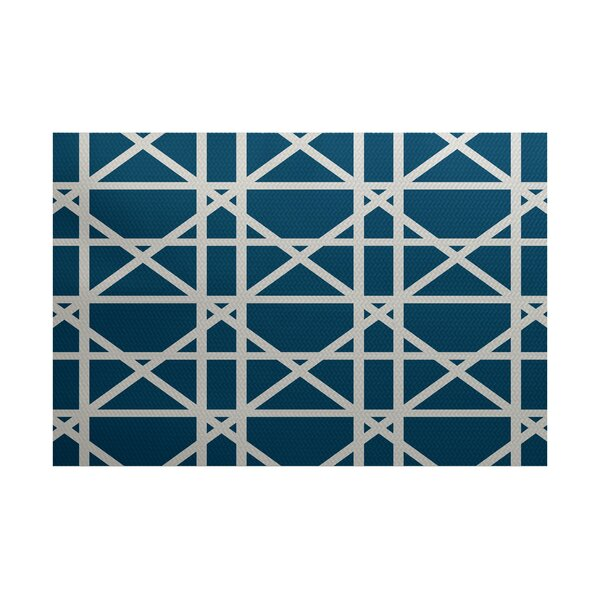 Durant Trellis Geometric Print Teal Indoor/Outdoor Area Rug by Willa Arlo Interiors