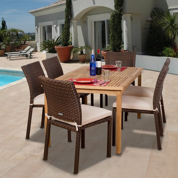 Escolta International Home Outdoor 7 Piece Teak Dining Set with Cushions by Bayou Breeze