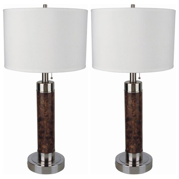 Marbleized Steel Cylinder 26 Table Lamp (Set of 2) by Sintechno