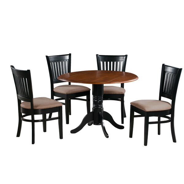 Sheri 5 Piece Drop Leaf Solid Wood Dining Set by Charlton Home