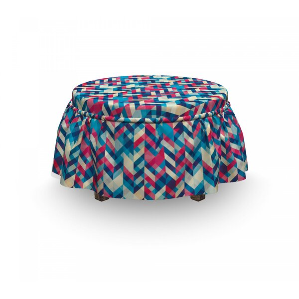 Chevron Downward Parallel Lines 2 Piece Box Cushion Ottoman Slipcover Set By East Urban Home