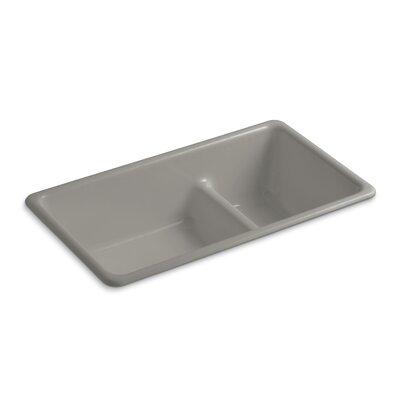 Kitchen Sink Iron Large Medium Double Bowl Cashmere photo