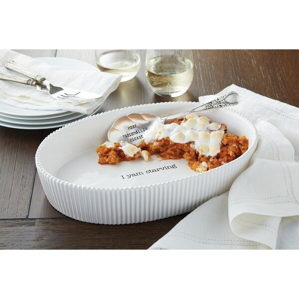 Farmhouse Inspired Thanksgiving Oval Non-Stick Sweet Potato Casserole Baking Dish by Mud Pie™