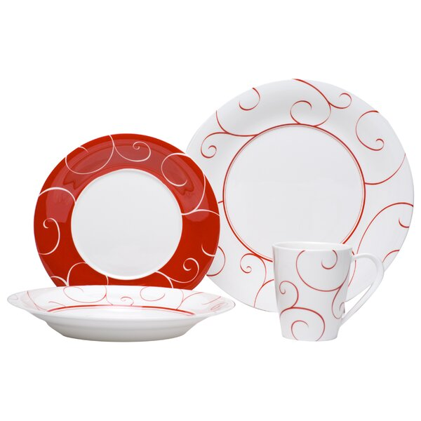 Panache Rouge 16 Piece Dinnerware Set, Service for 4 by Red Vanilla