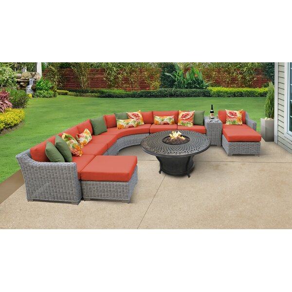Claire 11 Piece Sectional Seating Group with Cushions by Rosecliff Heights