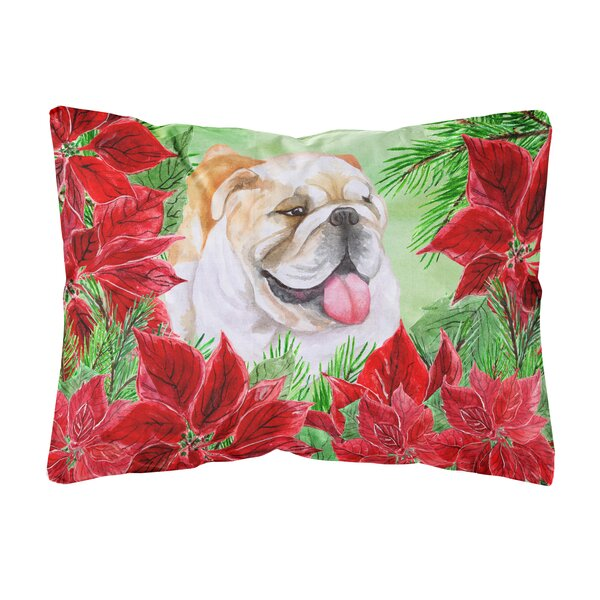Orizaba English Bulldog Poinsettas Fabric Indoor/Outdoor Throw Pillow by The Holiday Aisle