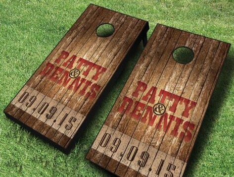 Name and Date Wedding Cornhole Set by AJJ Cornhole