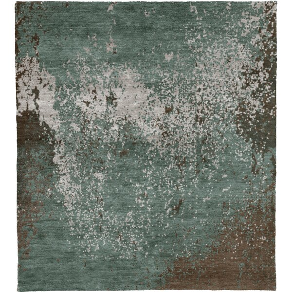 One-of-a-Kind Nadya Hand-Knotted Traditional Style Green 6' x 9' Wool Area Rug