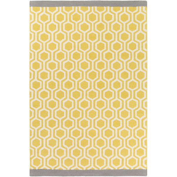 Blitar Hand-Crafted Yellow/Gray Area Rug by Wrought Studio
