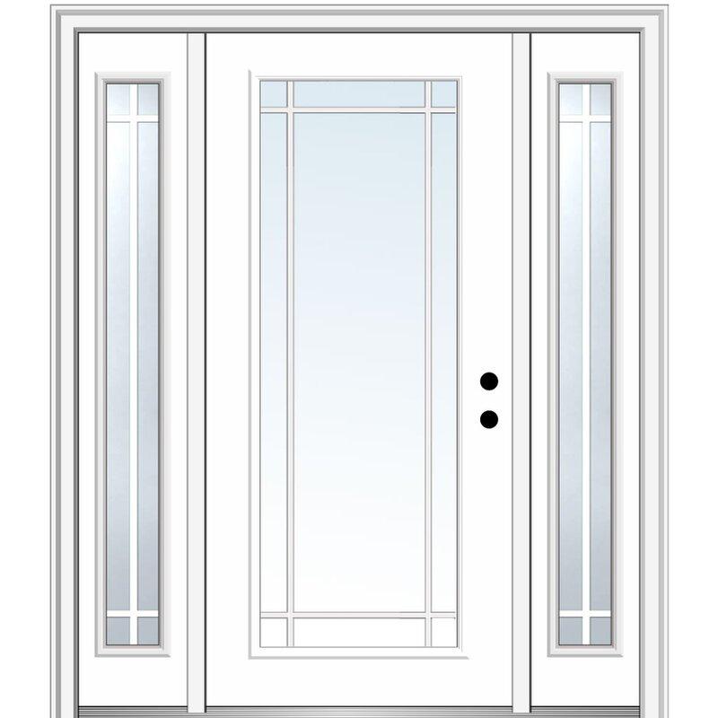 Verona Home Design Internal Prairie Grilles Primed Steel Prehung Front Entry Doors Wayfair