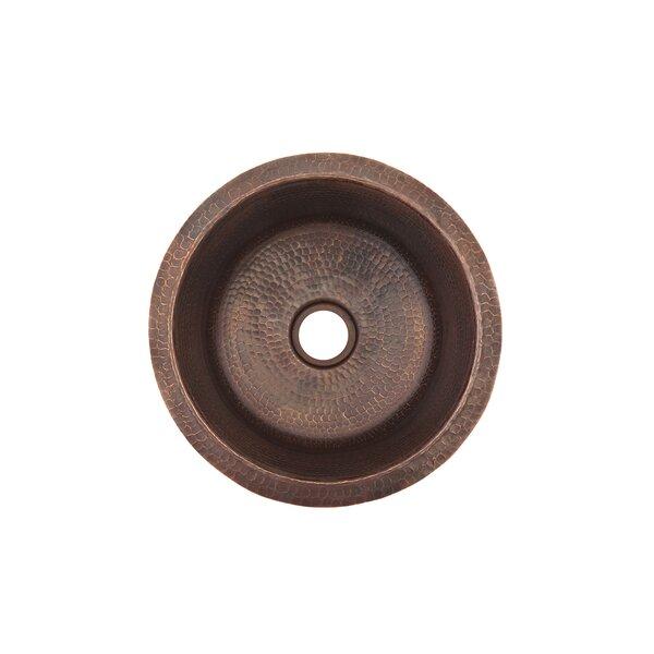 Round Hammered Copper 14 L x 14 W Dual Mount Bar Sink