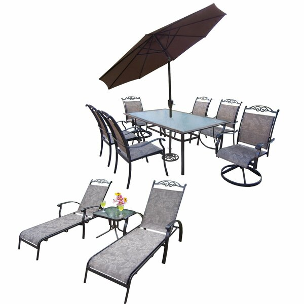 Basile 12 Piece Dining Set with Umbrella by August Grove