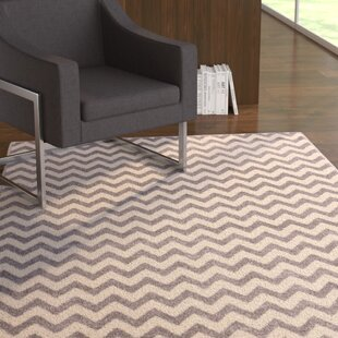 Find a Burgess Chevron Light Gray/White Area Rug By Ebern Designs
