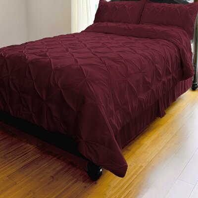 Red Barrel Studio Landen Pinch Pleat Duvet Cover Set Red Barrel Studio Size Full Queen Duvet Cover 2 Shams Color Burgundy Dailymail