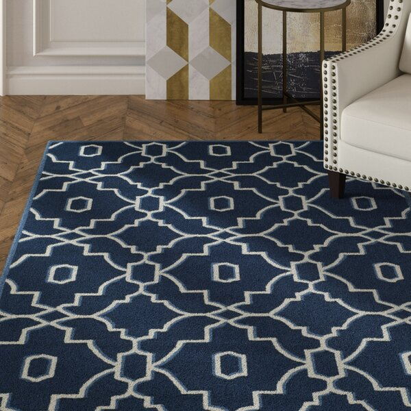 LaMoure Navy/Ivory Area Rug by Mercer41