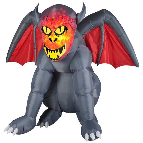 Projection Fire and Ice Gruesome Gargoyle LG (RRY) Inflatable by The Holiday Aisle