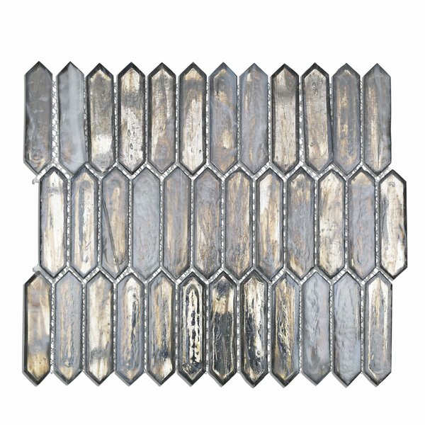 Fargin 0.9 x 3.1 Glass Mosaic Tile in Silver Haze by Splashback Tile