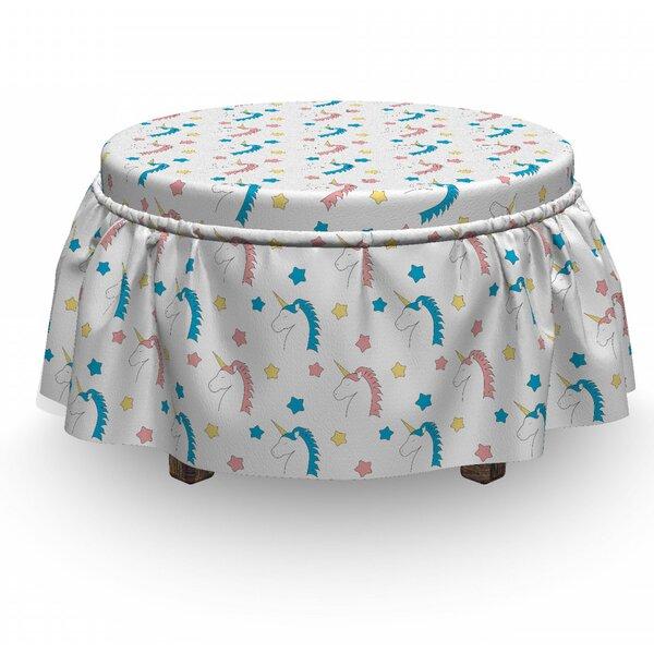 Pastel Unicorns Stars 2 Piece Box Cushion Ottoman Slipcover Set By East Urban Home