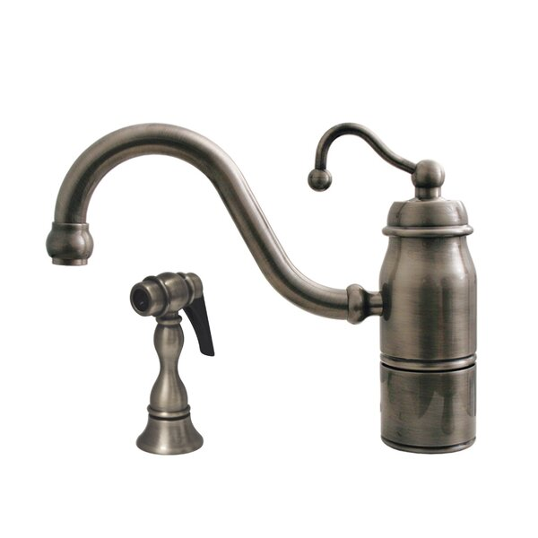 Beluga One Handle Single Hole Kitchen Faucet with Curved Handle and Side Spray by Whitehaus Collection