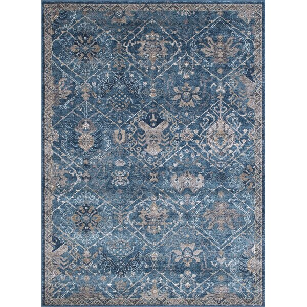 Berend Floral Ocean Blue Area Rug by One Allium Way