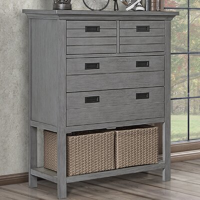 Evolur Waverly Tall Chest with Baskets Weathered White