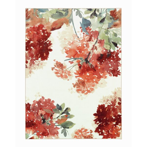 Thomason Watercolor Red/Ivory Area Rug by Latitude Run
