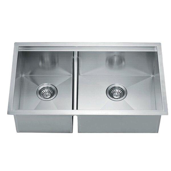 32 L x 19 W Under Mount Square Double Bowl Kitchen Sink by Dawn USA