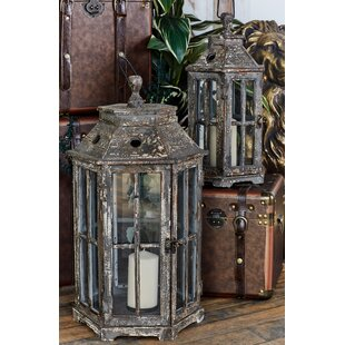 2 Piece Wood and Glass Lantern Set