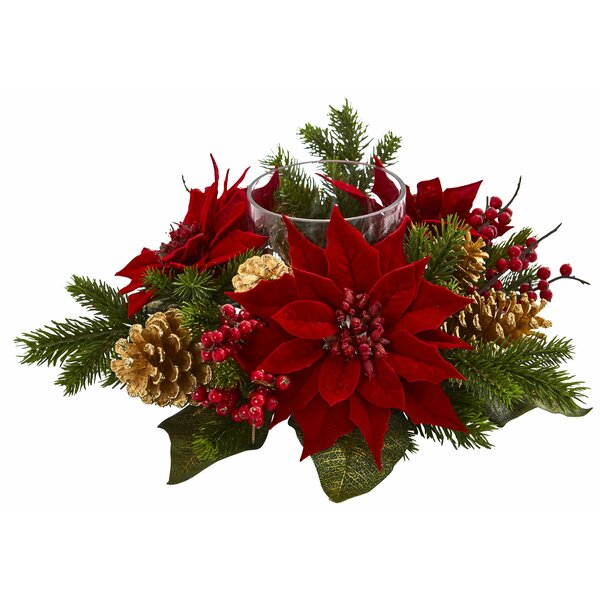 Artificial Arrangement Poinsettia Pine Cone Candelabrum by The Holiday Aisle