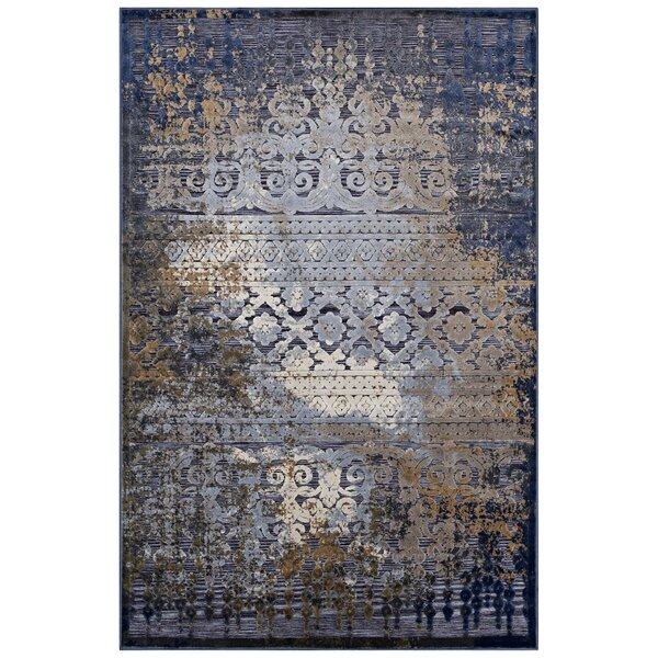 Nohlan Turkish Blue/Rust/Cream Area Rug by Bloomsb