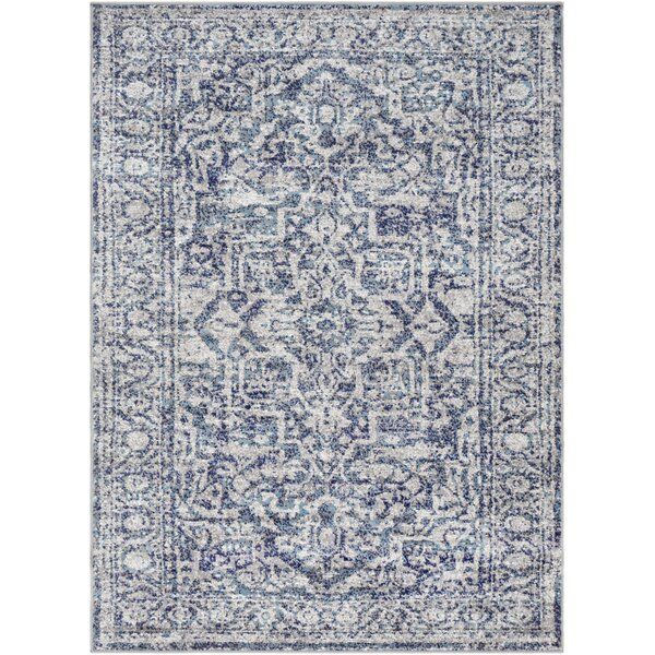 Ranck Distressed Navy/Baby Blue Area Rug by Bungalow Rose