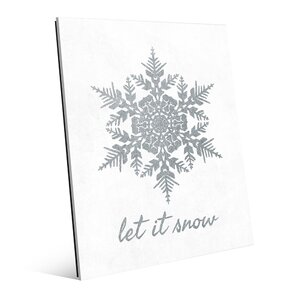 'Let it Snow Grey' Graphic Art on Plaque