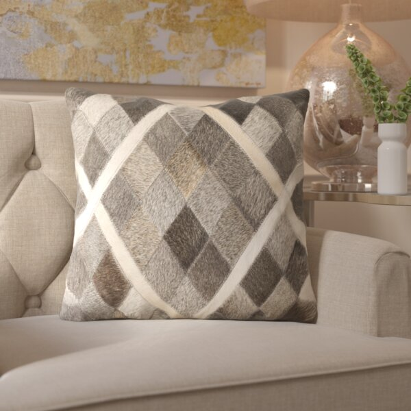 Gertrud Plaid Leather Throw Pillow by Willa Arlo Interiors
