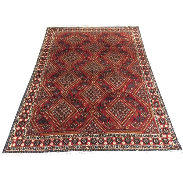One-of-a-Kind Duddleston Afghan Tribal Hand-Knotted Wool Red/Blue Area Rug by Canora Grey