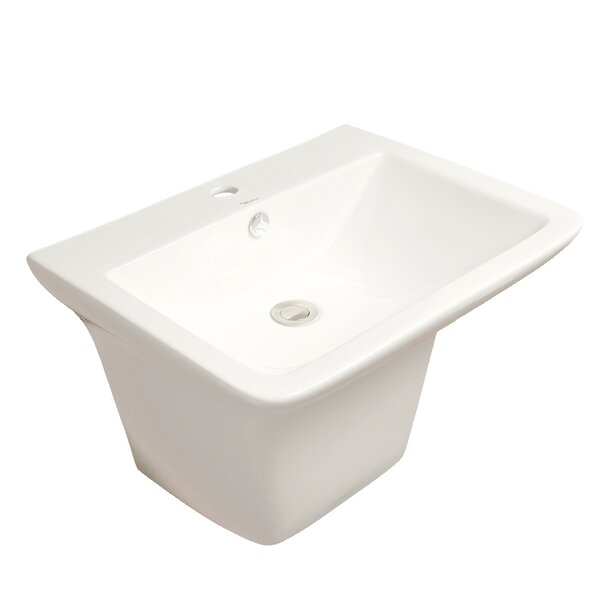 Isabella Ceramic 20 Wall Mount Bathroom Sink with Overflow by Whitehaus Collection
