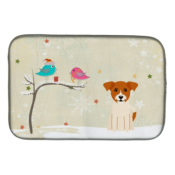 Christmas Presents Between Friends Jack Russell Terrier Dish Drying Mat by Caroline's Treasures
