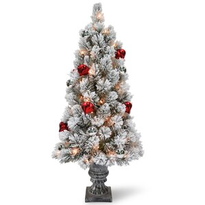 snowy bristle tabletop 2 pine artificial christmas tree with ornaments urn and 35 warm battery - Led Christmas Tree