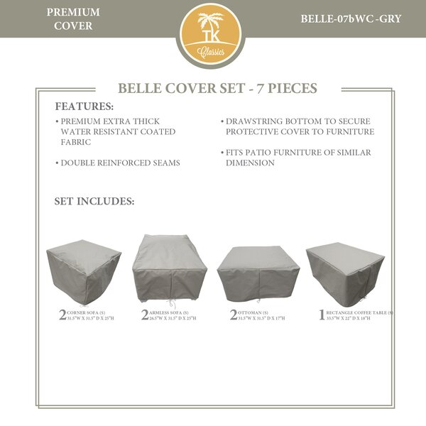 Bee 7 Piece Water Resistant Patio Furniture Cover Set by TK Classics
