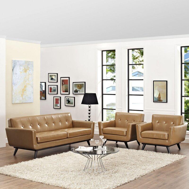 Saginaw Leather 3 Piece Living Room Set
