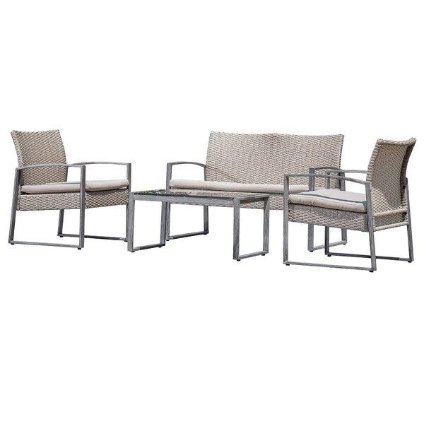 Ana 4 Piece Rattan Sofa Seating Group with Cushions by Mistana
