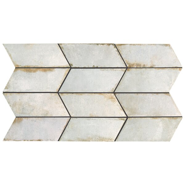 Relic Chevron Right 5.5 x 12.75 Porcelain Field Tile in Bianco by EliteTile