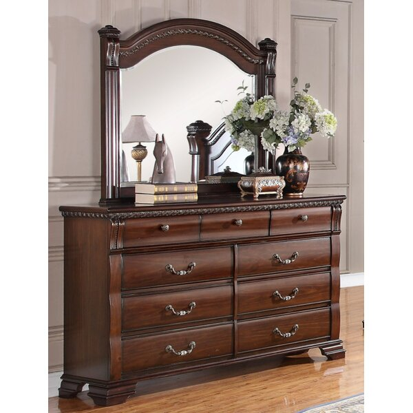 Pfeiffer 9 Drawer Double Dresser With Mirror By Astoria Grand by Astoria Grand 2020 Sale