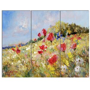 'Painted Poppies on Summer Meadow' 3 Piece Painting Print on Canvas Set by Design Art