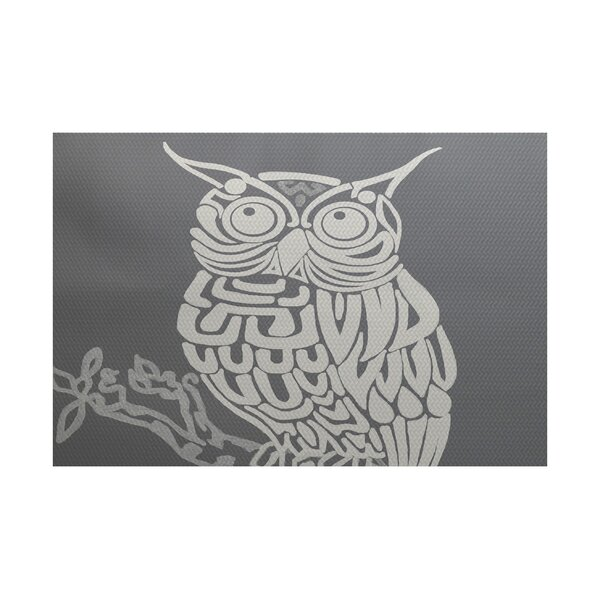 Deja Hootie Bird Print Gray Indoor/Outdoor Area Rug by East Urban Home