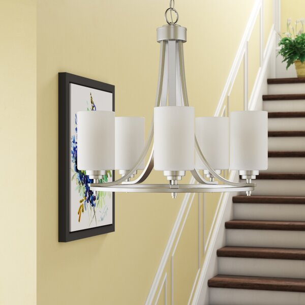 Rizer 5-Light Shaded Wagon Wheel Chandelier by Andover Mills Andover Mills