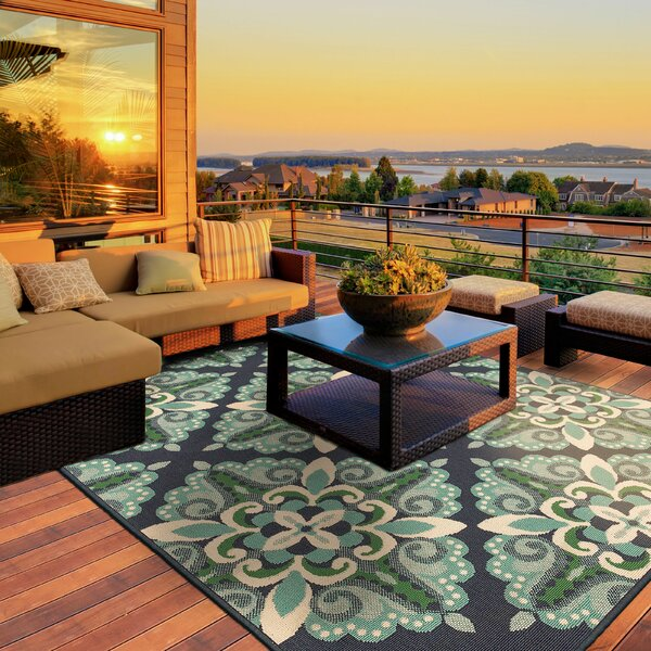Kailani Contemporary Blue/Green Indoor/Outdoor Area Rug by Beachcrest Home