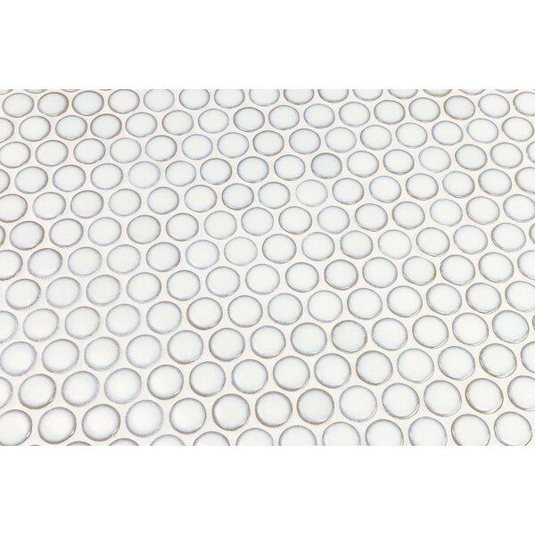 Joy Rimmed 1 x 1 Ceramic Mosaic Tile in Snow by Splashback Tile