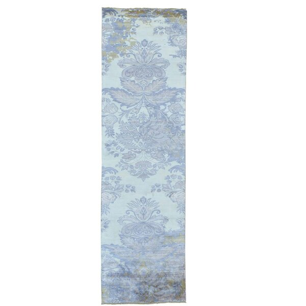 Damask Tone on Tone Hand-Knotted Silk Ivory Area Rug by Canora Grey