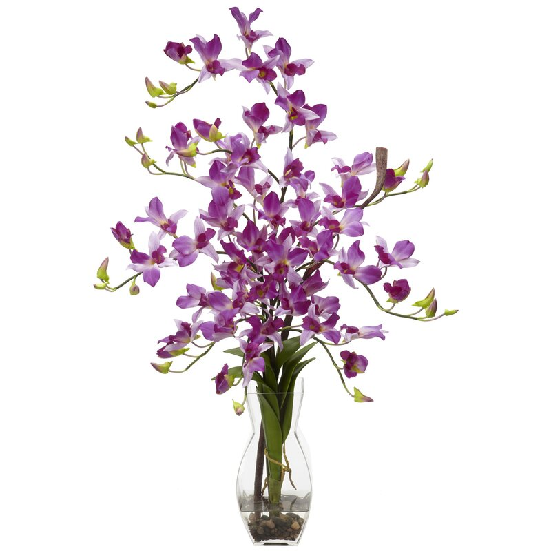 floral home decor orchid floral design wayfair.htm nearly natural silk dendrobium orchid floral arrangement in vase  nearly natural silk dendrobium orchid