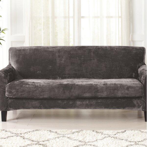 Velvet Plush Box Cushion Sofa Slipcover By Canora Grey Canora Grey